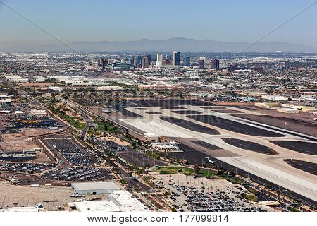Downtown Phoenix Arizona skyline from above Sky Harbor International Airport