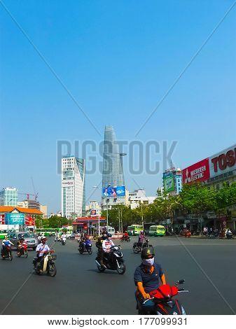Hanoi, Vietnam - February 10, 2011: Many motorbikikes at the street in Ho Chi Minh City, Vietnam. Motorbike is a most popular transport in Vietnam.