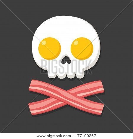 Pirate flag made of fried eggs and bacon as skull and crossbones. Cartoon breakfast food vector illustration.