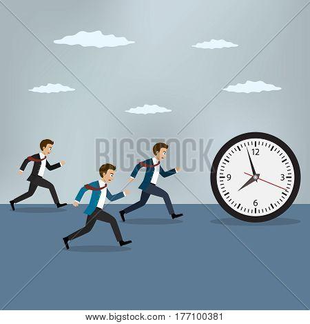 Businessmen chasing pocket watch. Business vector illustration