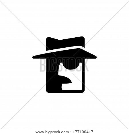 Private detective logo. Stylized face silhouette with mustache hat and dark glasses. Minimal vector icon symbol.