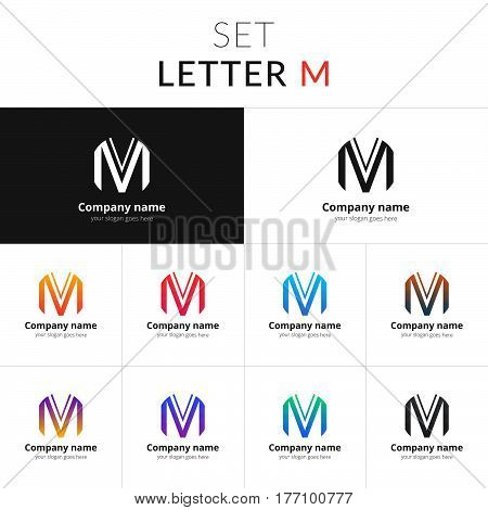 Letter M logo. Set icon M with colorful gradient. Vector sign on black and white color background. Creative vision concept logo, elements, symbol for card, brand, banners.