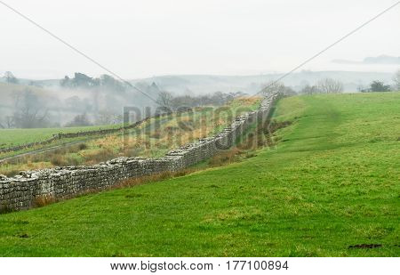 Remains of Hadrian's Wall in Cumbria, England close to the Scottish border