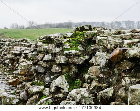 Remains of Hadrian's Wall near Birdoswald in Cumbria, England close to the Scottish border