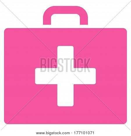 First Aid Bag vector icon. Flat pink symbol. Pictogram is isolated on a white background. Designed for web and software interfaces.