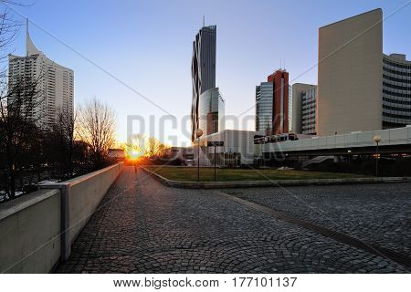 Modern buildings of the Vienna International Centre and Donau City at the sunset. Vienna Austria.