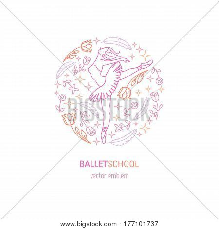 Vector simple and elegant logo design template in trendy linear style - emblem for ballet performance, ballet school or studio, dance studio, theatre, opera
