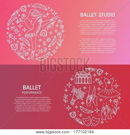 Vector set of Ballet banners with line icons made in circle with text. Vector emblem for ballet performance, ballet school or studio, dance studio, theatre.