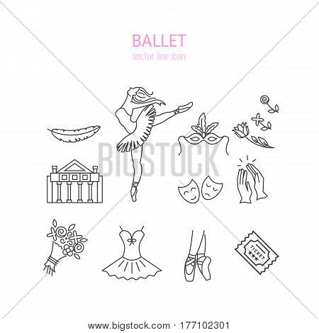Vector Ballet line icon set with ballet shoes, ballet tutu, ballerina, theater, applause, bouquet, mask, ticket  isolated on white background.
