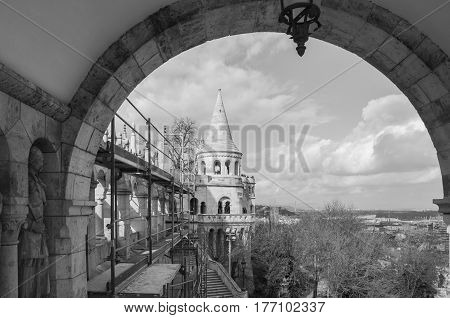 Fisherman's Castle is a terrace in neo-Gothic and neo-Romanesque style situated on the Buda bank of the Danube in Budapest Hungary. Black and white.
