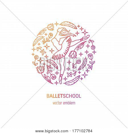 Vector simple and elegant logo design template in trendy linear style - emblem for ballet school or studio, dance studio, performance with ballerina and flower.