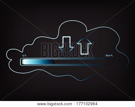Vector Of Cloud Transfers With Progress Bar