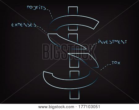 Vector Dollar Symbol Split Into Budget Elements