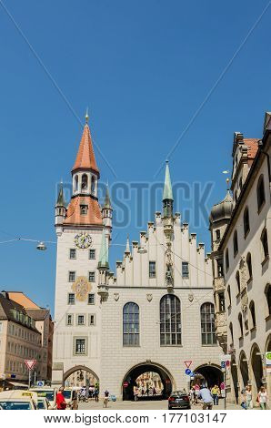 MUNICH GERMANY - JUNE 7 2016: The Old Town Hall in Munich Germany. Currently in significant part of the building is located the toy Museum.
