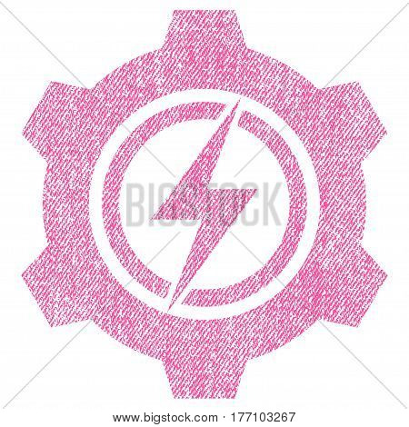 Electric Cogwheel vector textured icon for overlay watermark stamps. Fabric pink vectorized texture. Symbol with scratched design. Rubber seal stamp with fiber textile structure.