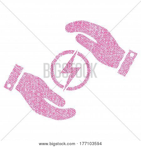 Electric Energy Insurance Hands vector textured icon for overlay watermark stamps. Fabric pink vectorized texture. Symbol with scratched design. Rubber seal stamp with fiber textile structure.