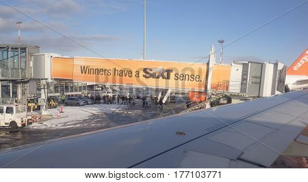 Berlin Germany- January 5 2017: Disembarkation of passengers at the airport Tempelhof