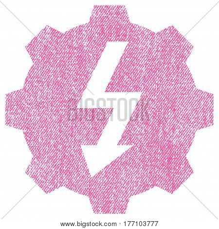 Electric Gear vector textured icon for overlay watermark stamps. Fabric pink vectorized texture. Symbol with unclean design. Rubber seal stamp with fiber textile structure.