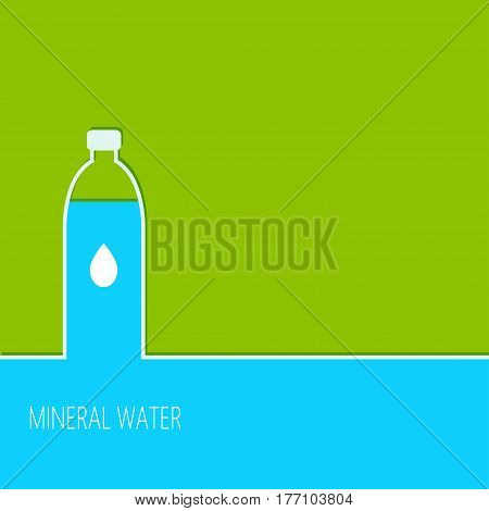 Bottle with mineral water isolated on green background. Vector illustration watter bottle.