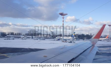 Berlin Germany- January 5 2017: Staff at work at the airport Tempelhof
