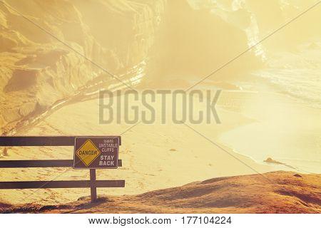 Danger sign in La Jolla beach California