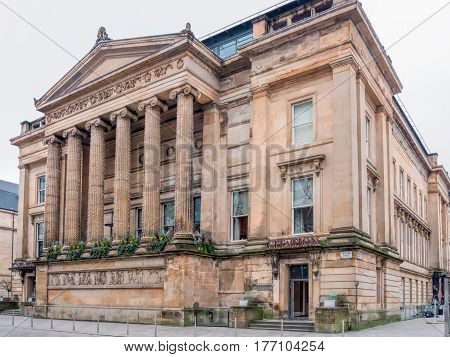 GLASGOW, SCOTLAND - 29 JAN 2017: Exterior of former Glasgow Sheriff Court and Justice of the Peace Court. It now functions as a luxury apartment building