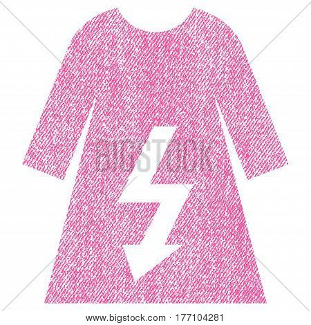 Electric Woman Dress vector textured icon for overlay watermark stamps. Fabric pink vectorized texture. Symbol with unclean design. Rubber seal stamp with fiber textile structure.