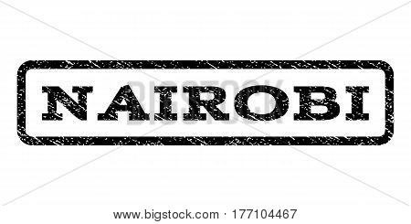 Nairobi watermark stamp. Text caption inside rounded rectangle with grunge design style. Rubber seal stamp with unclean texture. Vector black ink imprint on a white background.