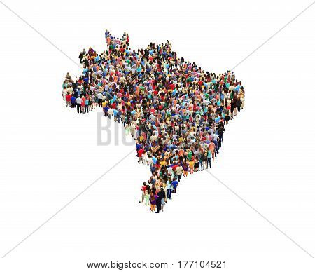 map of Brazil with crowd of different people isolated on the white