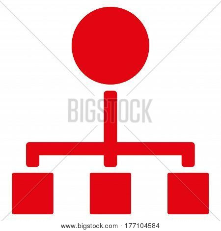 Hierarchy vector icon. Flat red symbol. Pictogram is isolated on a white background. Designed for web and software interfaces.