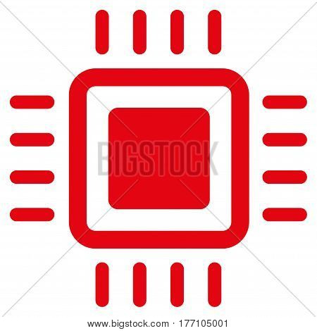 Processor vector icon. Flat red symbol. Pictogram is isolated on a white background. Designed for web and software interfaces.