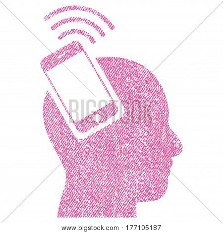 Head Smartphone Plugin Ring vector textured icon for overlay watermark stamps. Fabric pink vectorized texture. Symbol with dust design. Rubber seal stamp with fiber textile structure.