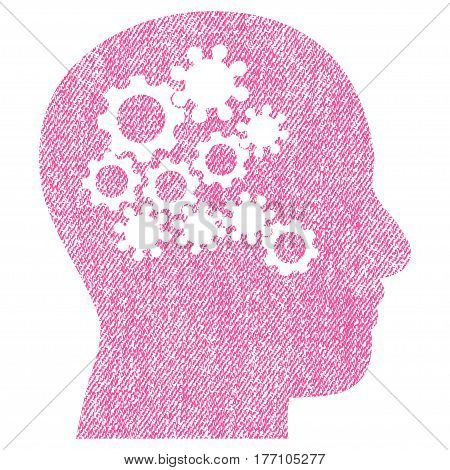 Human Mind Gears vector textured icon for overlay watermark stamps. Fabric pink vectorized texture. Symbol with dirty design. Rubber seal stamp with fiber textile structure.