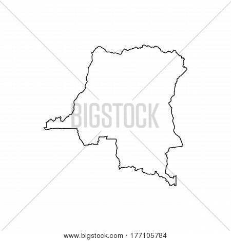 Democratic Republic of the Congo map silhouette illustration on the white background. Vector illustration