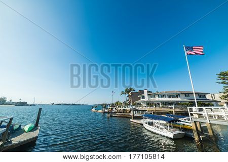 Balboa island harbor in Orange County California