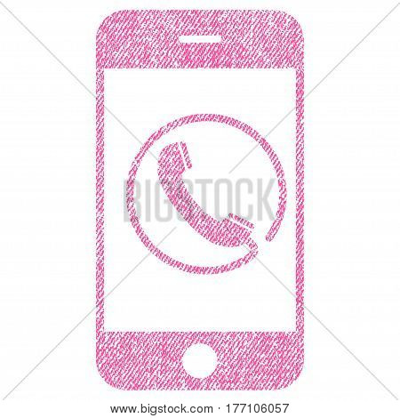 Phone vector textured icon for overlay watermark stamps. Fabric pink vectorized texture. Symbol with dust design. Rubber seal stamp with fiber textile structure.