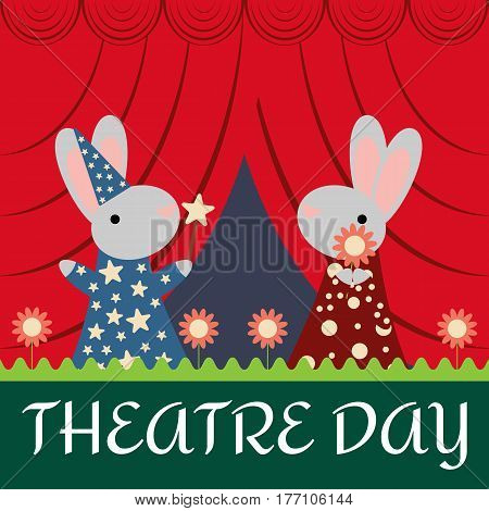 Funny cartoon rabbits on the stage. Card to Theatre Day