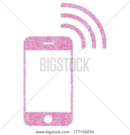 Smartphone Call vector textured icon for overlay watermark stamps. Fabric pink vectorized texture. Symbol with scratched design. Rubber seal stamp with fiber textile structure.
