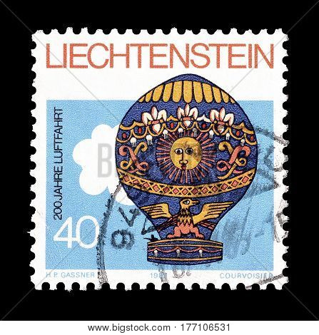 LIECHTENSTEIN - CIRCA 1983 : Cancelled postage stamp printed by Liechtenstein, that promotes Air travel.