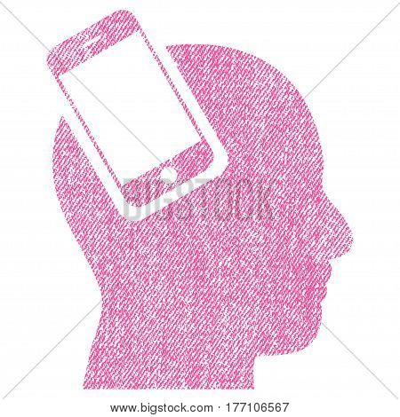 Smartphone Head Integration vector textured icon for overlay watermark stamps. Fabric pink vectorized texture. Symbol with unclean design. Rubber seal stamp with fiber textile structure.