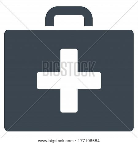 First Aid Bag vector icon. Flat smooth blue symbol. Pictogram is isolated on a white background. Designed for web and software interfaces.