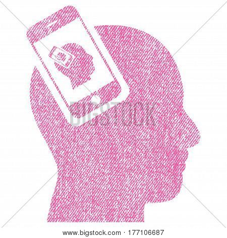 Smartphone Head Plugin Recursion vector textured icon for overlay watermark stamps. Fabric pink vectorized texture. Symbol with unclean design. Rubber seal stamp with fiber textile structure.