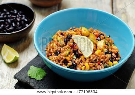 Black beans pepper cilantro zucchini lime brown rice.