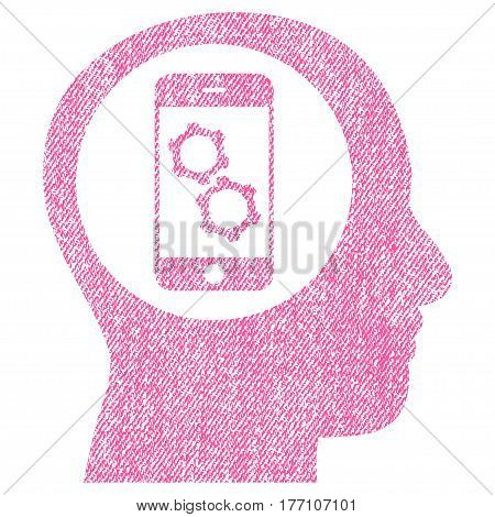 Smartphone Mind Control vector textured icon for overlay watermark stamps. Fabric pink vectorized texture. Symbol with dust design. Rubber seal stamp with fiber textile structure.