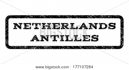 Netherlands Antilles watermark stamp. Text tag inside rounded rectangle with grunge design style. Rubber seal stamp with unclean texture. Vector black ink imprint on a white background.
