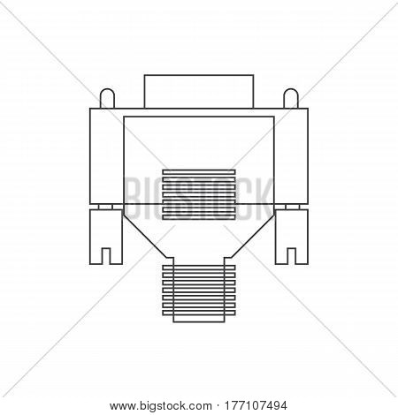 VGA cable on the white background. Vector illustration