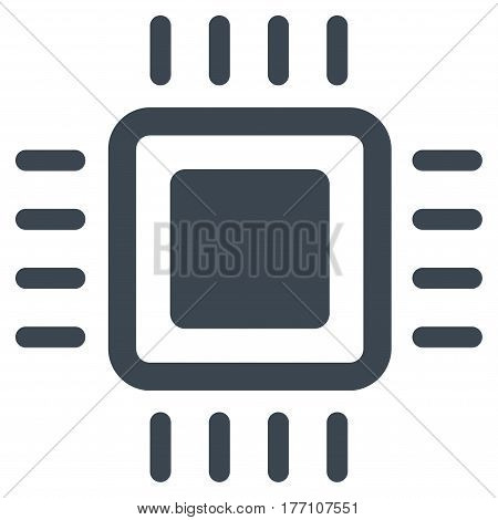 Processor vector icon. Flat smooth blue symbol. Pictogram is isolated on a white background. Designed for web and software interfaces.