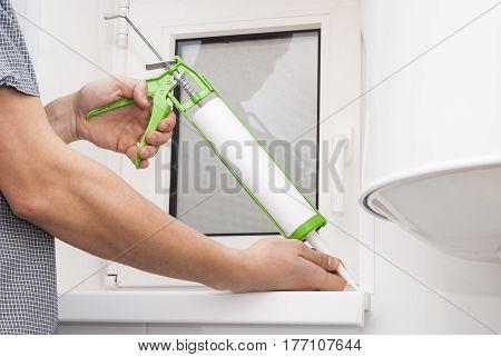 Silicone, Window, Bathroom