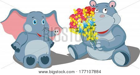 Elephant and hippopotamus with a bouquet of flowers. Vector illustration