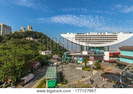 Hong Kong, China - December 7, 2016: aerial view of Peak Tower, iconic landmark, from Peak galleria.The Peak Tower is the most popular attraction in Hong Kong and the island's highest viewing platform